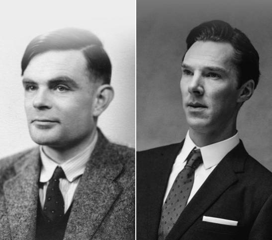 Alan Turing (left) and Benedict Cumberbatch (right).